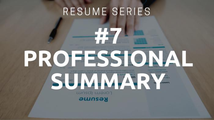 Resume Professional Summary