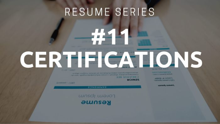 Resume Certifications