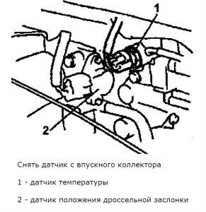 Датчик температуры впускаемого воздуха в системе впрыска топлива Опель Агила (бензиновые двигатели)