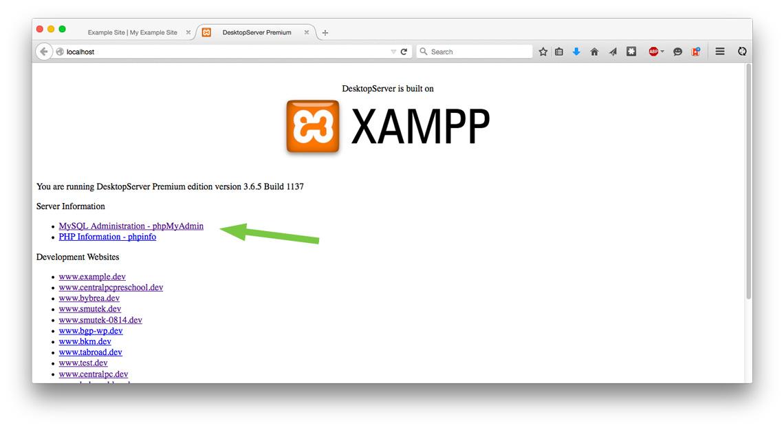Desktop Server, sites page
