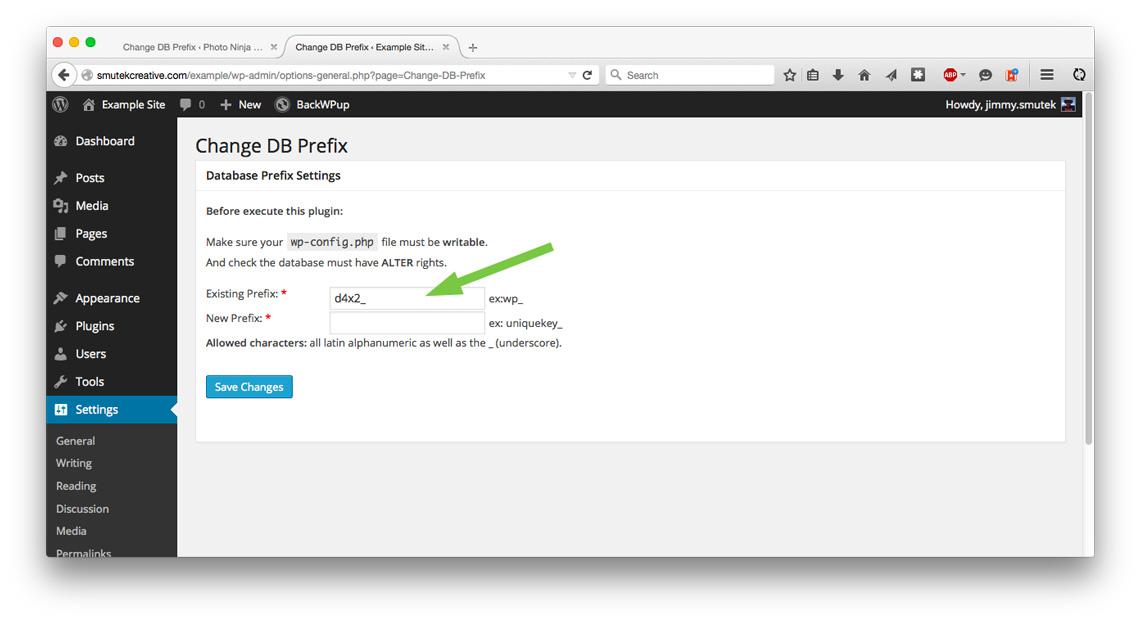 Change DB Prefix plugin, prefix is different