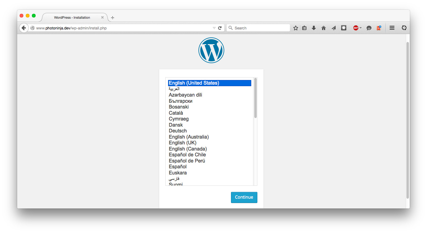 Install WordPress, language screen