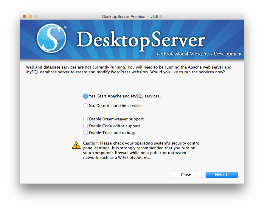 Desktop Server starting web services
