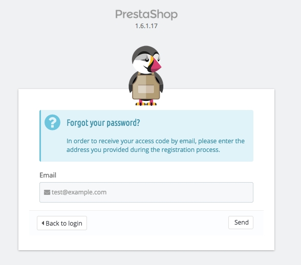reset password prestashop