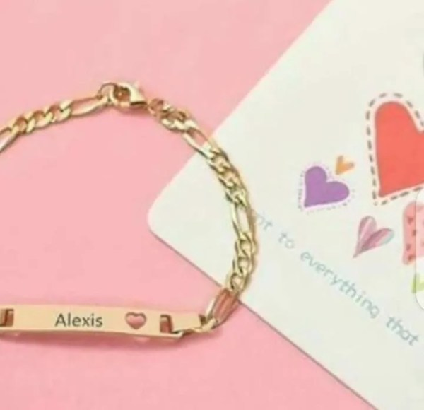 Bar Name And Cut Out Heart Name Engrave Bracelet