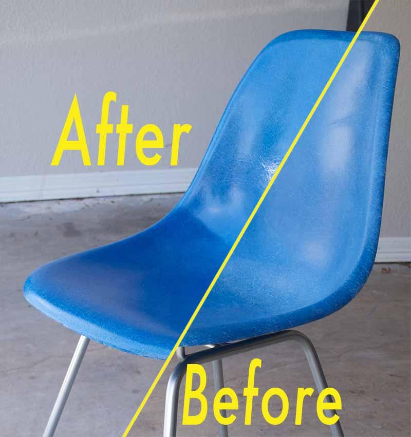 eames dining chair revolving gem fiberglass shell restoration - part 1
