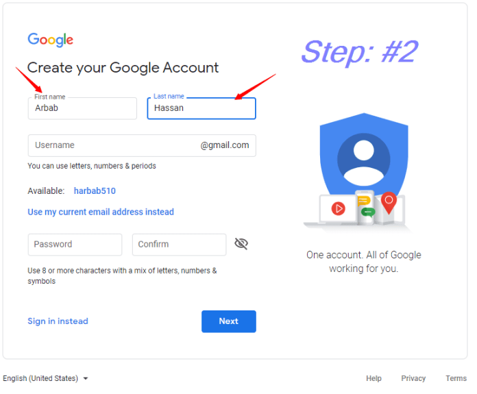 Enter your First and Last Name   how to create a Gmail account