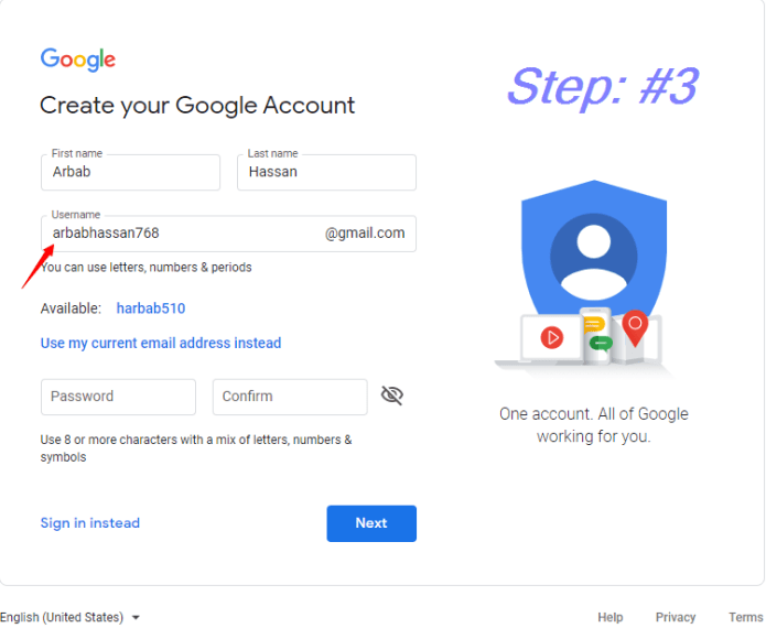 Enter your desired Username    how to create a Gmail Account