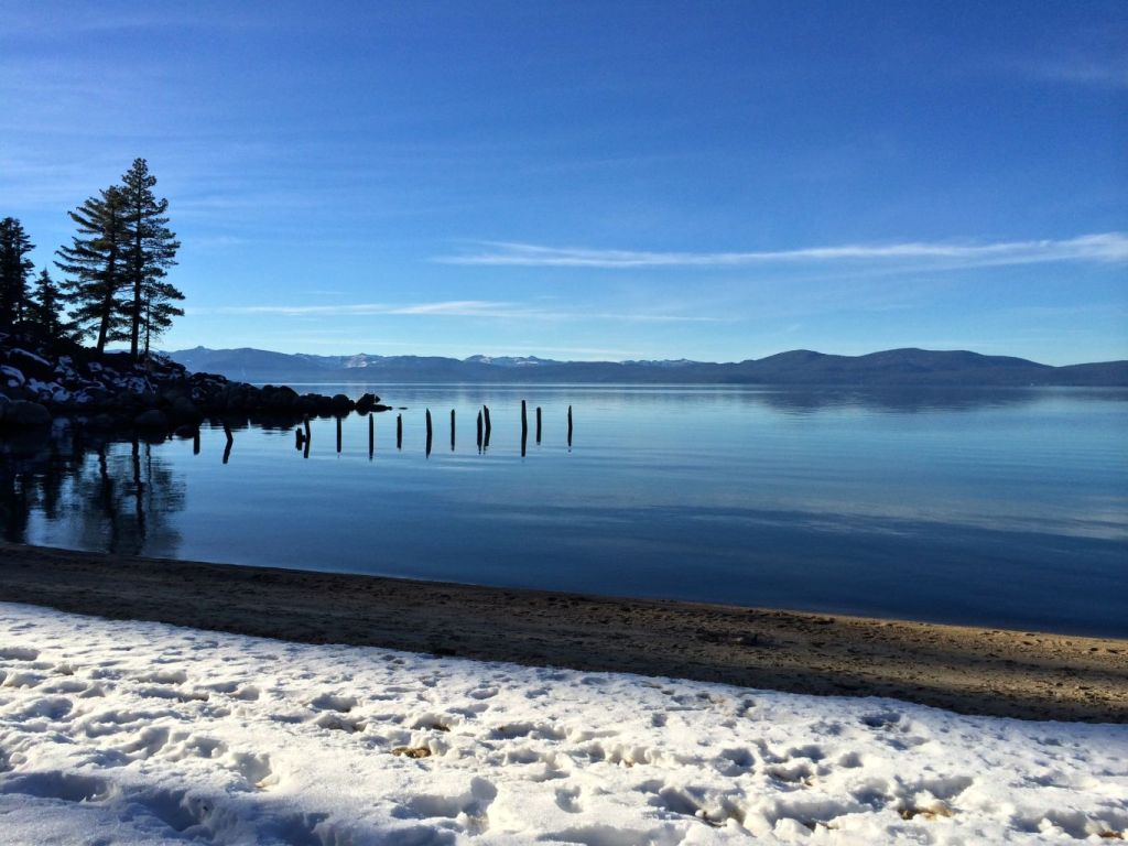 Snow on beach, Lake Tahoe