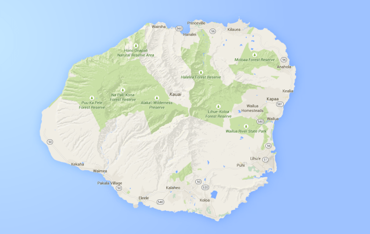 google map of kauai