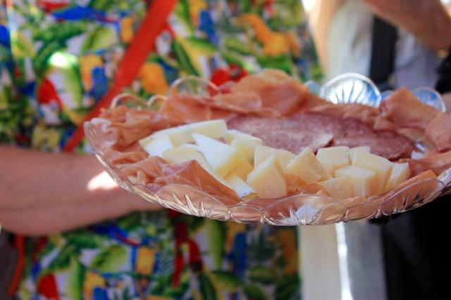 Prosciutto, salami, and pecorino at Volpetti deli in Rome
