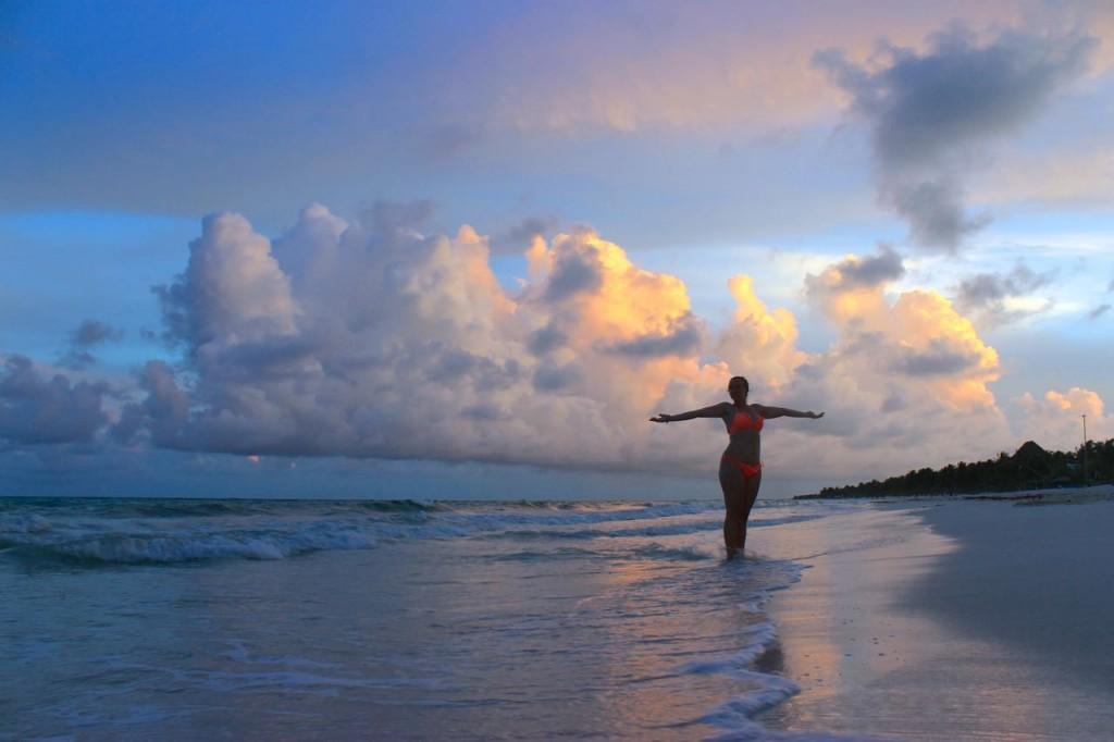 Sunset on Beach in Tulum