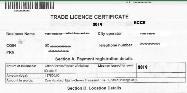 KCCA Trading license