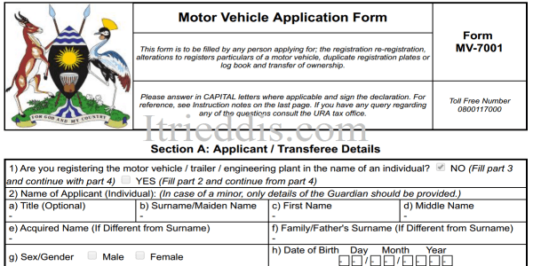 Transfer forms for motor vehicle