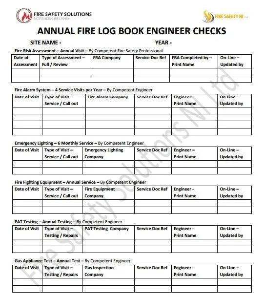 fire safety log book occupier check
