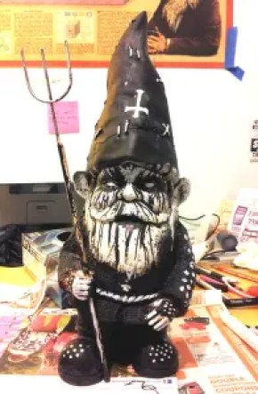 black metal lawn gnome