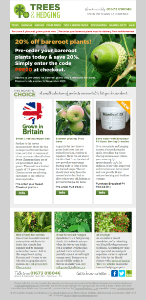Trees & Hedging newsletter - 14/08/2013