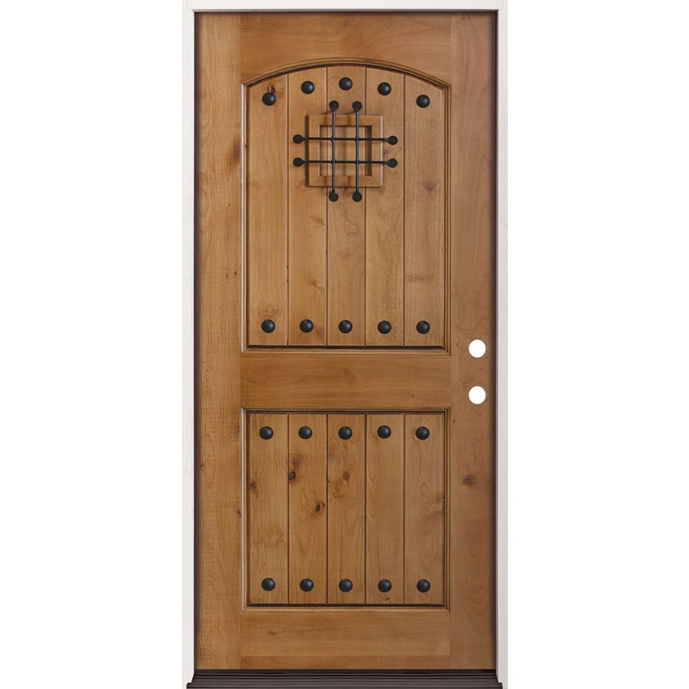 36 Left Hand Knotty Alder Exterior Door With Speakeasy Home Outlet   Knotty Alder Stair Treads   Hardwood Lumber   Handrail   Railing   Butcher Block   Lumber