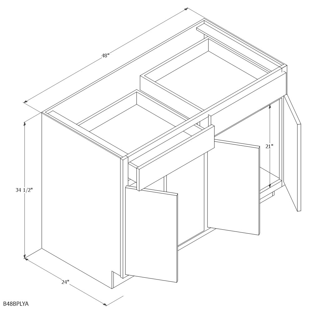 unfinished oak 48 base cabinet