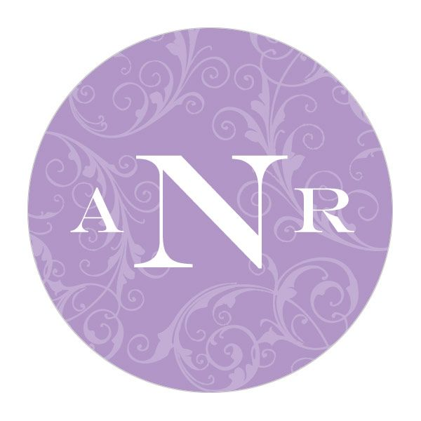 Filigree Monogram Sticker Lavender