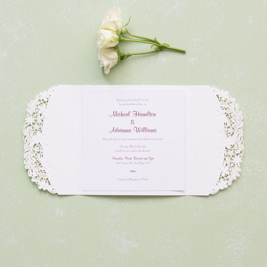 Floral Elegance Laser Embossed Invitations with Personalization