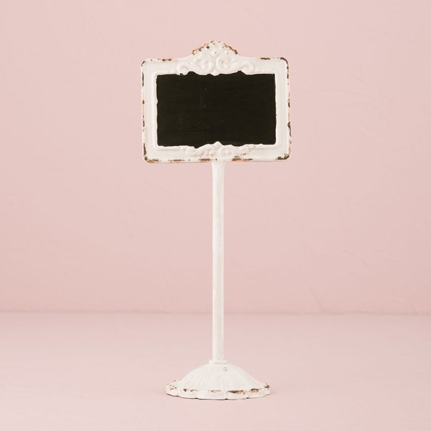 Tabletop Antique White Blackboard Stand White