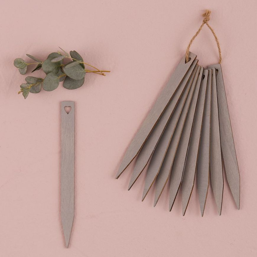 Grey Wooden Stakes with Open Heart Silver