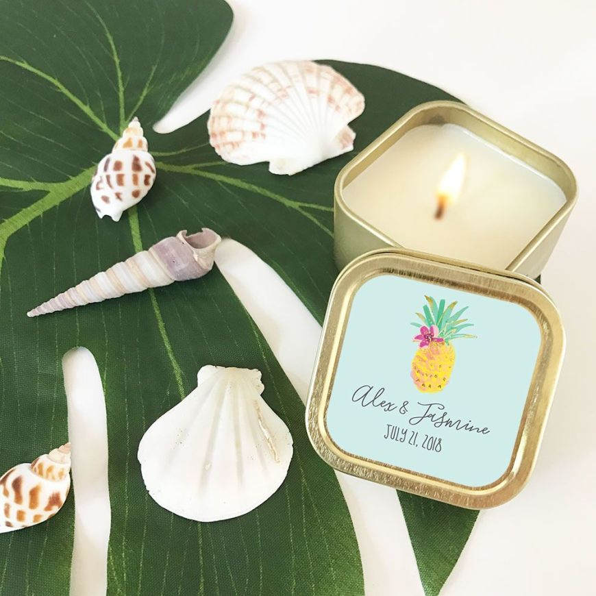 EB3211TPB-Personalized Tropical Beach Gold Square Candle Tins