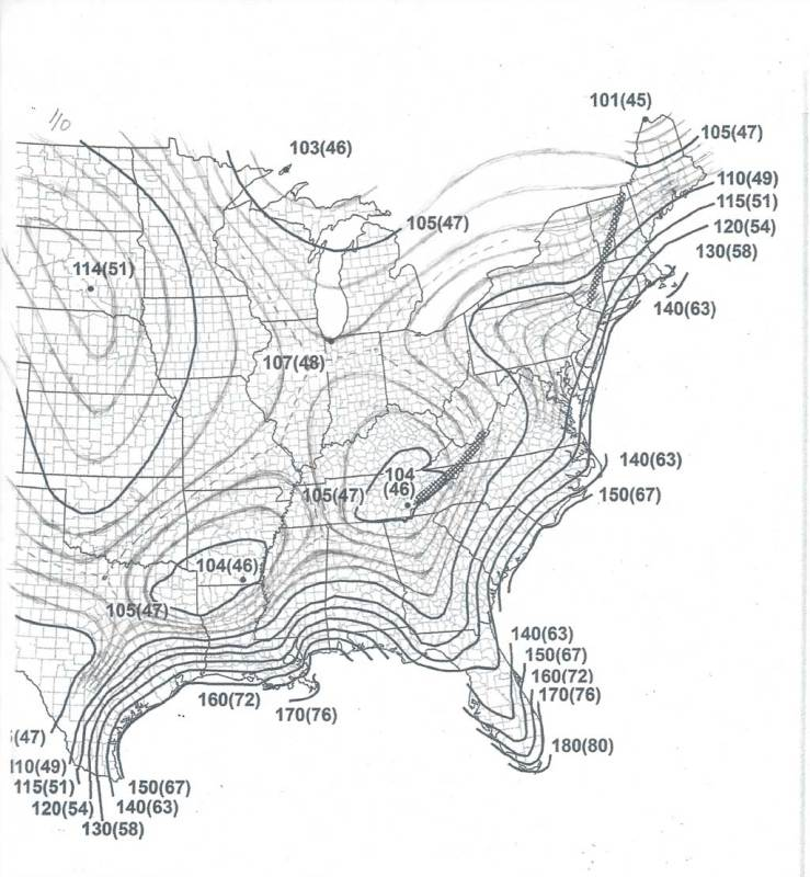 Linear Interpolation of Wind Speed Maps (ASCE 7-16
