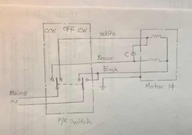 forward / reverse switching of singlephase motor  electric