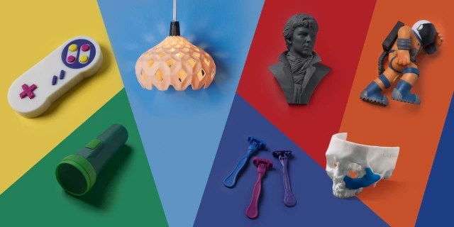 Parts printed with Formlabs' experimental Color Kit. (Image courtesy of Formlabs.)