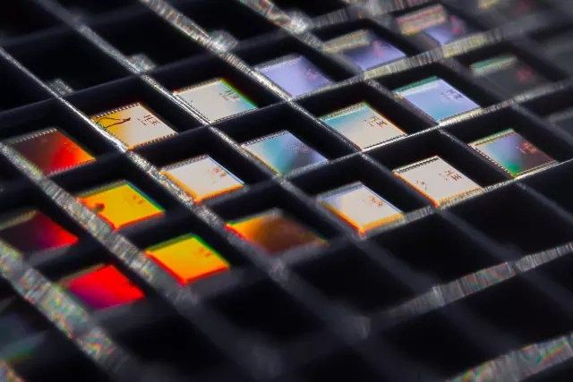 An array of the temperature sensor chips. (Image courtesy of David Baillot/UC San Diego Jacobs School of Engineering.)