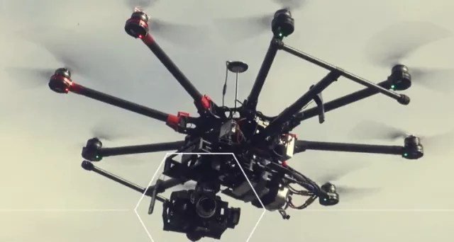 "Figure 2. A camera on a drone can take a lot of video, all of which can be uploaded to the Smartvid.io platform where AI can apply ""smart labels"" to detect construction-related objects. (Image courtesy of Smartvid.io.)"