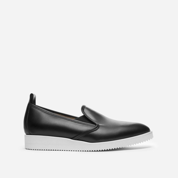 Black Leather Slip On Shoes Womens