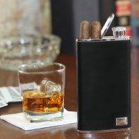 Exclusively Weddings | Leather Flask and Cigar Holder