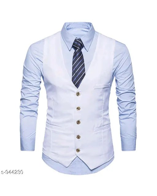 Men's Partywear Solid Polyester Waistcoats Vol 1 (3)