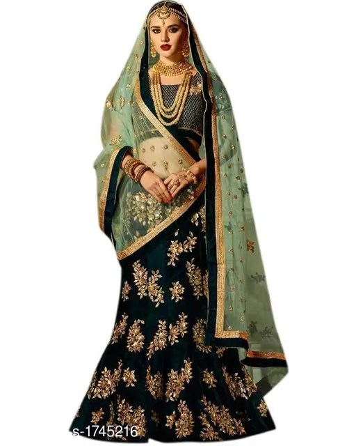 Taffeta Satin Embroidered Lehenga (4)