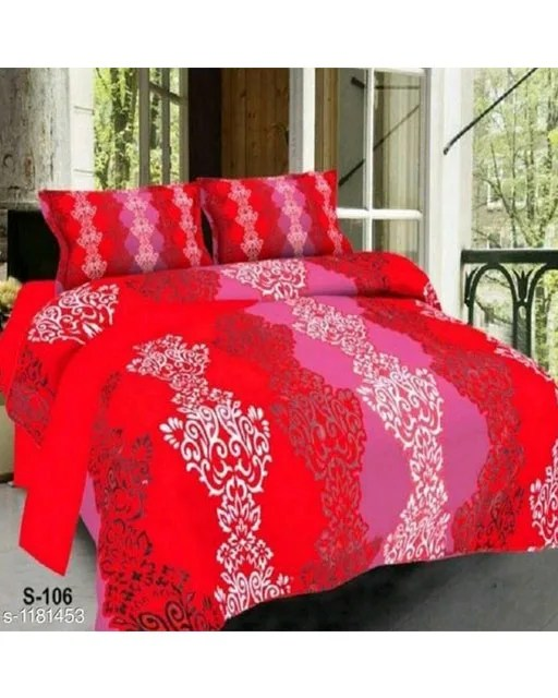 Trendy Cotton Printed 3D Double Bedsheets Vol 9 (2)