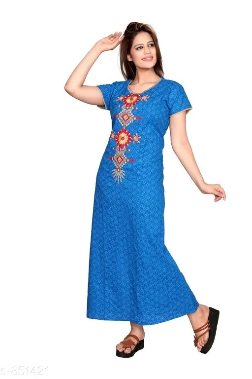 Women's Trendy Cotton Embroidery Nighties