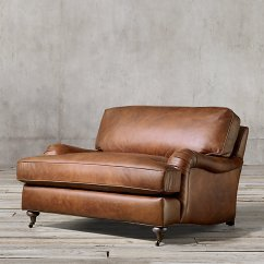 English Roll Arm Chair And A Half Big Overstuffed With Ottoman Very Goods Leather