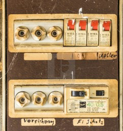 old very unsafe fuse box in the basement of a house stock image [ 1120 x 1650 Pixel ]