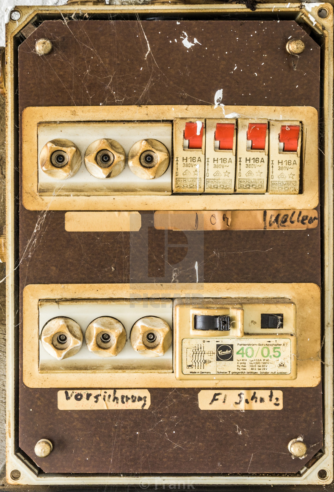 hight resolution of  old very unsafe fuse box in the basement of a house stock image