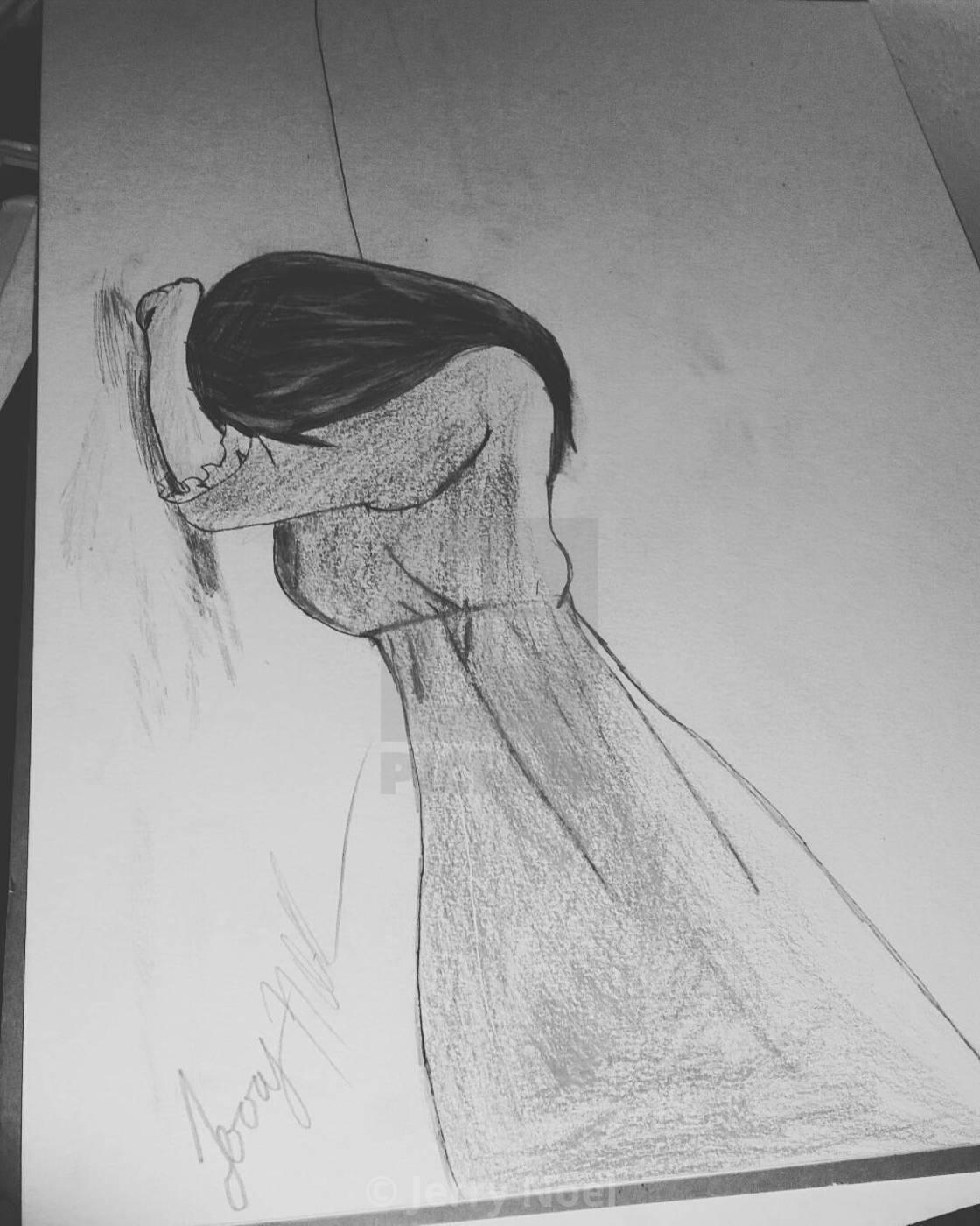 Drawing Of A Girl Crying : drawing, crying, Drawing, Crying, License,, Download, Print, £12.40, Photos, Picfair