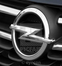 closeup of the opel logo on a the front of the car stock image [ 1120 x 747 Pixel ]