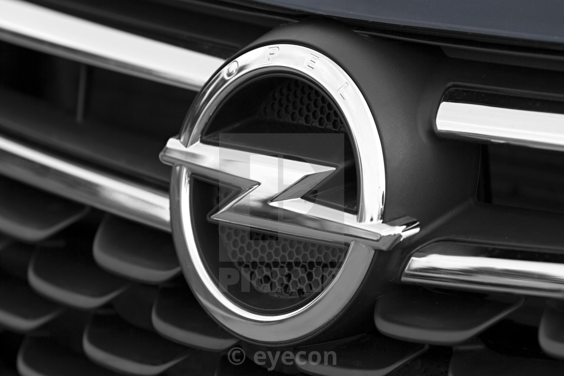 hight resolution of  closeup of the opel logo on a the front of the car stock image