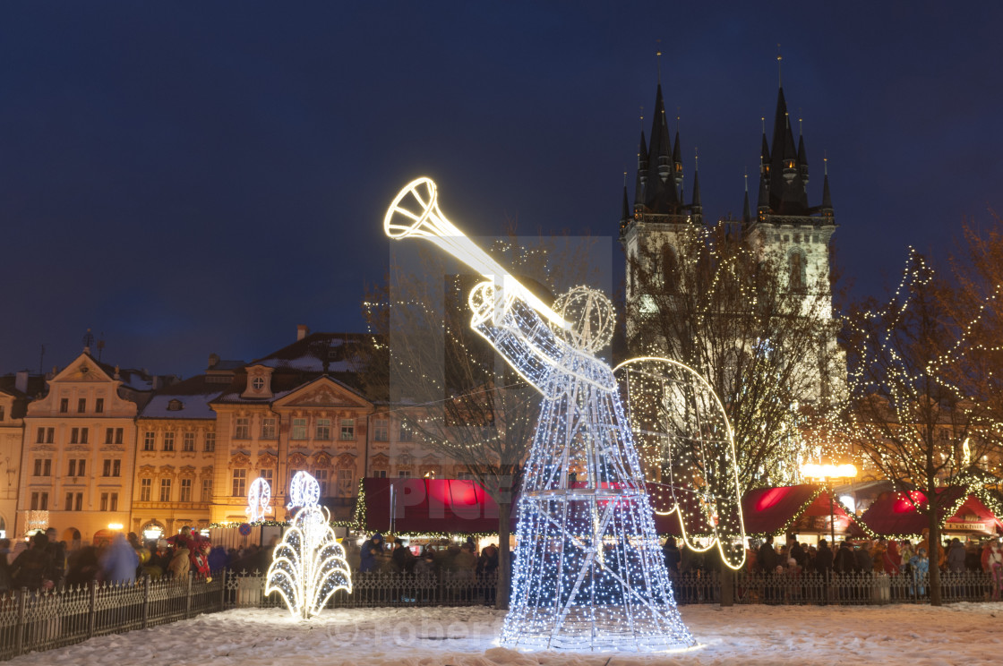 Christmas Decorations At Christmas Market And Gothic Tyn