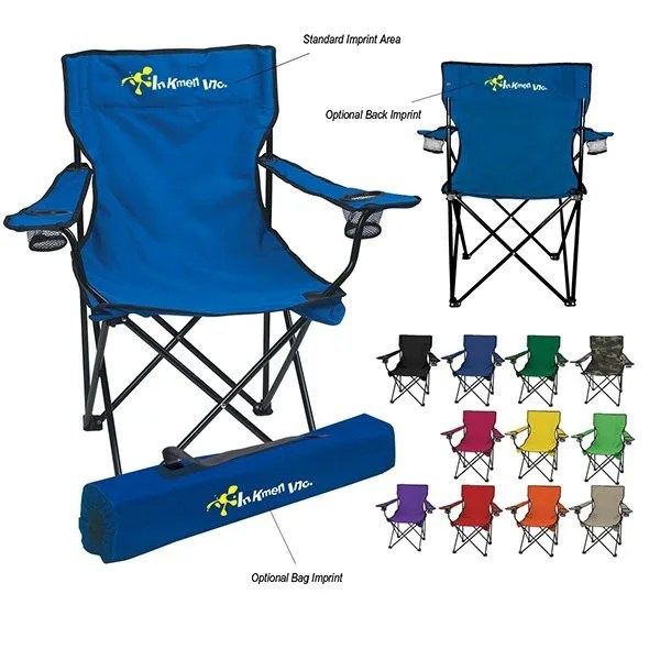folding chair nylon lucite desk customizable fold up chairs with bag carrying promotional outdoor business logo