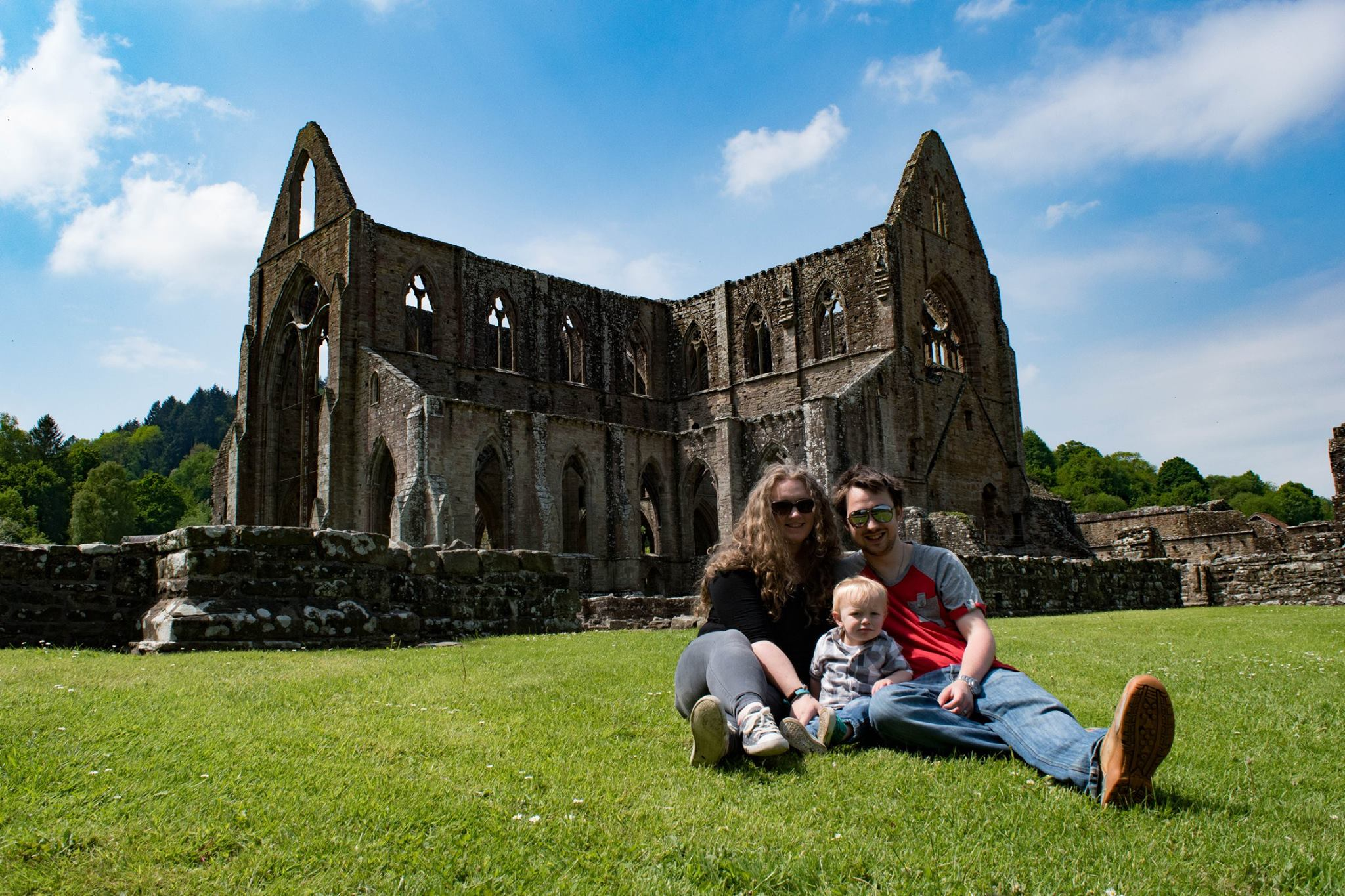 Leah, Jack and Ed with Tintern Abbey in the background