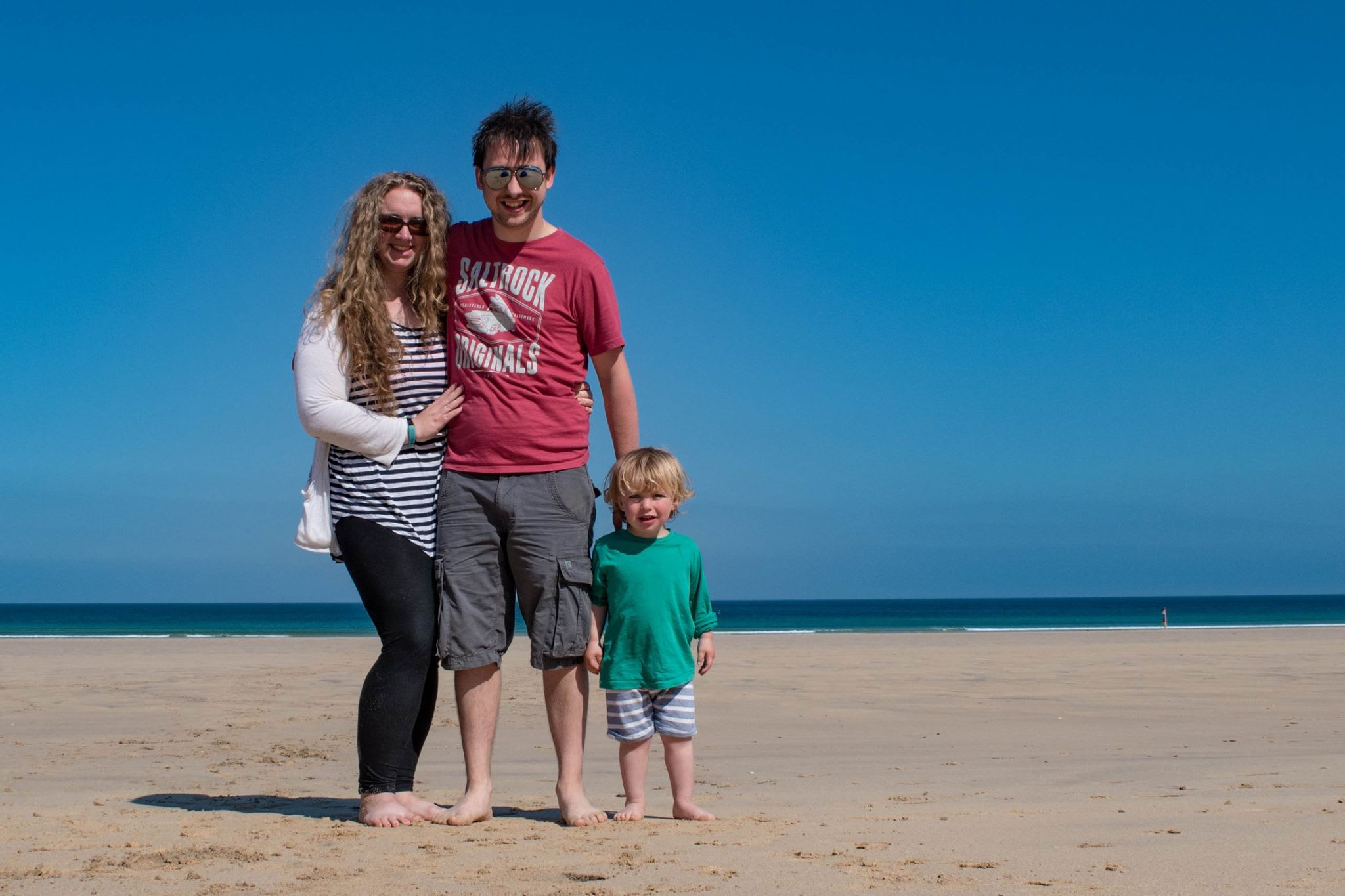 A picture of Leah, Ed and Jack on the beach