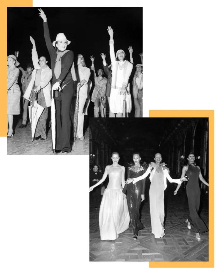Montagem vertical com fundo branco e duas fotos dispostas intercaladas. Ao lado de cada foto, está uma borda assimétrica amarela. Na foto 1, alinhada na lateral superior esquerda, em preto e branco uma série de modelos seguram guarda-chuvas, no que parece ser uma pose de dança, com a mão direita para cima. Na segunda foto, também em preto e branco, alinhada na lateral direita inferior, quatro modelos desfilam sorrindo com vestidos de gala longos e cabelos presos.